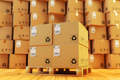 cartoon boxes in warehouse