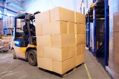 cartoon boxes at warehouse